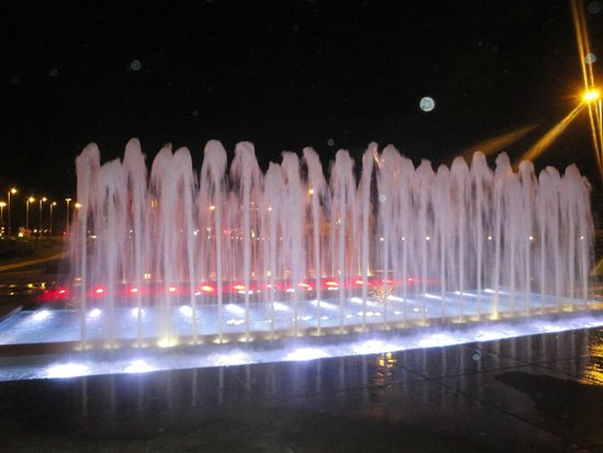 National and University Library : white and red fountain