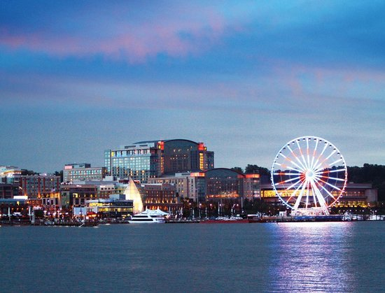 A View of National Harbor at Dusk