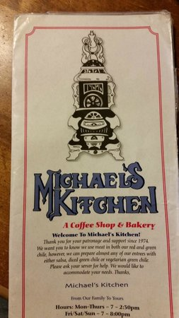 Michaels Kitchen Cafe & Bakery : Menu cover