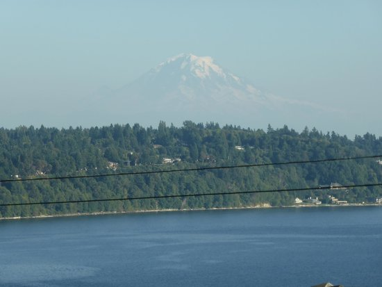 Three Tree Point Bed and Breakfast: Bedroom View of Mt. Rainier