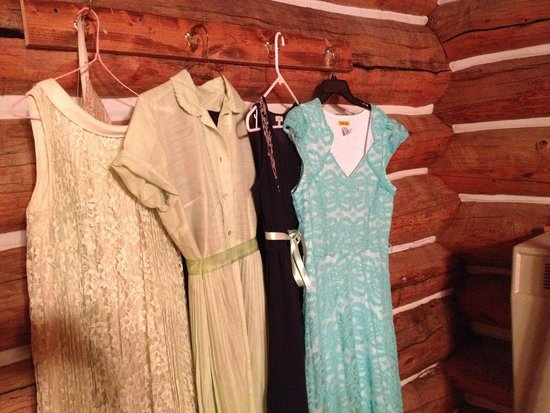 Wyoming High Country Lodge: Our dresses-- picked to show you the amazing walls of the cabin