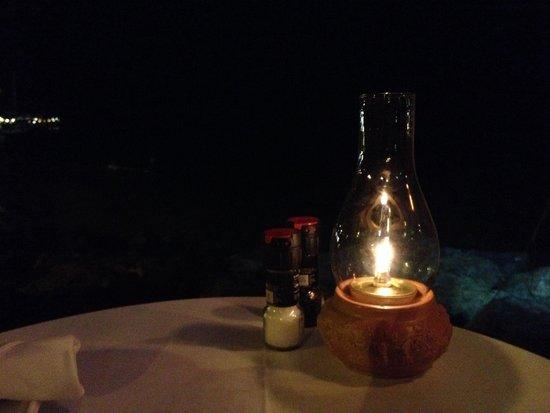 Mim's Seaside Bistro : Dinner table w ocean view