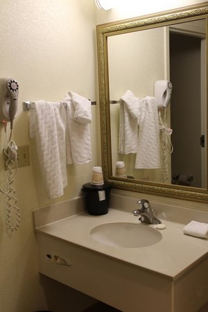 La Quinta Inn & Suites Baltimore BWI Airport : sink area-toilet and tub in separate room