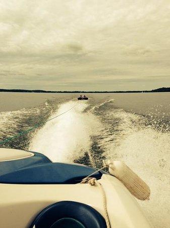 Lake Mendota: tubing behind the jet boat