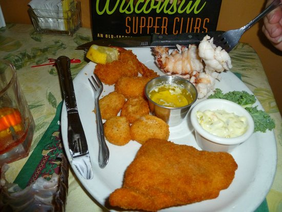 Seafood Plate - Shrimp, Scallops, Walleye, Lobster - Dreamland Supper Club - South Range WI