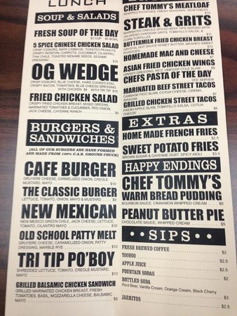 Cafe Tommy Visalia Ca Menu