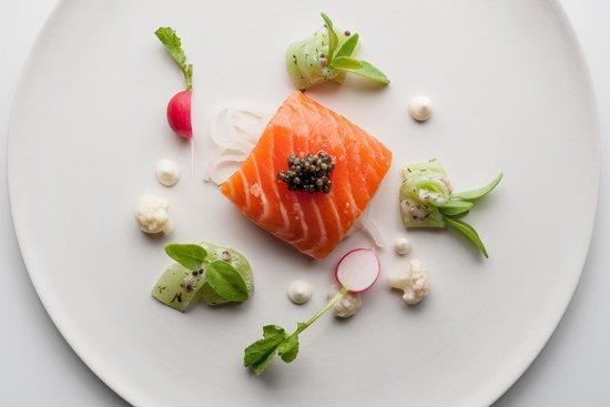Belmond Le Manoir aux Quat'Saisons : Confit Salmon Cucumber Horseradish
