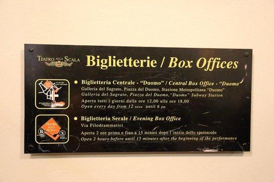 Scala de Milan (Teatro alla Scala) : ボックスオフィスの案内板(Xが現在地、Bがオフィス)