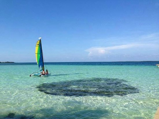 Coco Plum Island Resort: Taking the Hobie Cat out at Coco Plum Caye