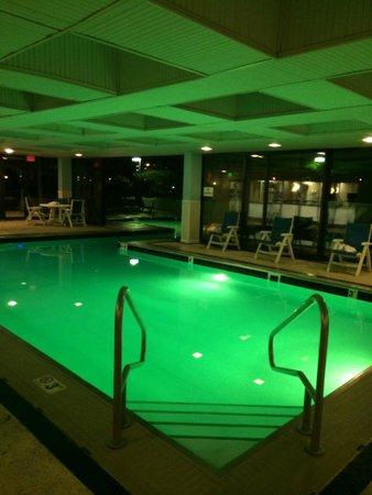 Marriott Stamford Hotel and Spa: Indoor portion of the indoor/outdoor combo pool. Underwater lighting changes every minute.