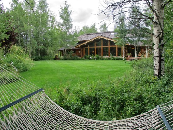 Wildflower Lodge at Jackson Hole : A view of the Inn from one of two hammocks on property