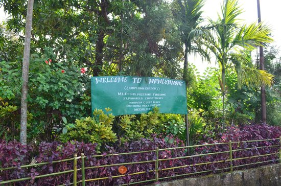 Mawlynnong Waterfall: The welcome sign to the village.