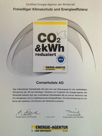 Hotel Waldegg: Zertifikat freiwilliger Klimaschutz