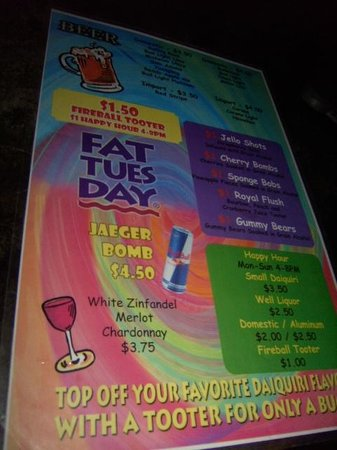 Fat Tuesday Menu Of Beverages