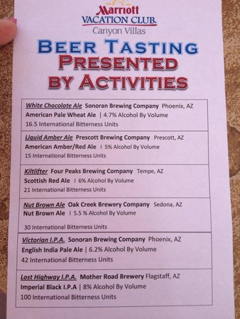 Marriott's Canyon Villas: Beer tasting was fun and truly educational for me. I'm not a beer drinker. My daughter is. We ha