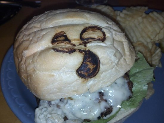 Prop's Sports Bar and Grill: Prop's On Long Lake - Burger Bun Prop Branding - Nice touch - Sarona