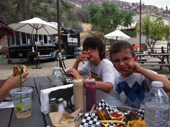Three Rivers, CA: Boys enjoying their sliders!