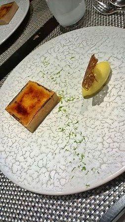 L'Arbre : tartelette mangue/crème brulé, sorbet mangue