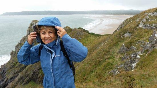 Three Cliffs Bay Holiday Park: Pam on Cliffs at Oxwich Bay