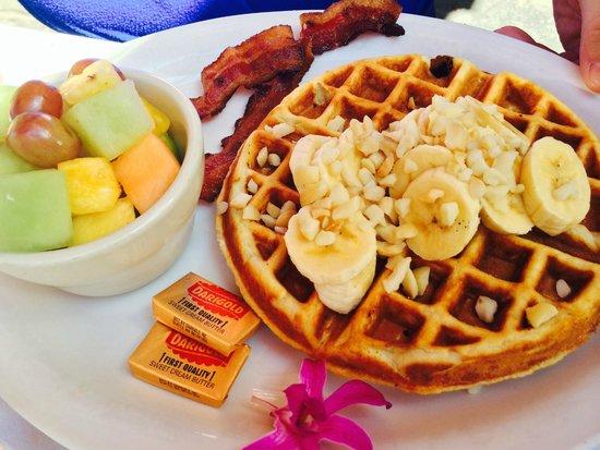 Island Lava Java: Waffle Aloha Style w Mac Nut, Banana and Coconut Syrup