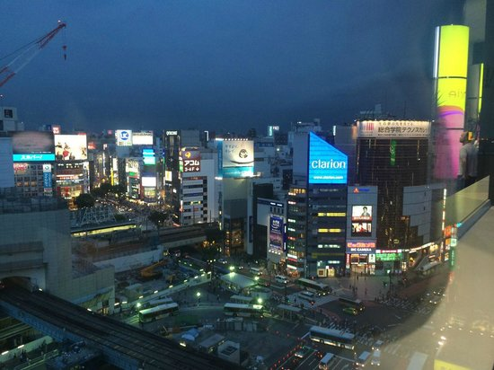 Cerulean Tower Tokyu Hotel: Evening view over Shibuya (22nd floor)