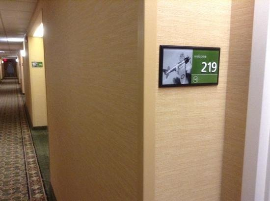 """Hampton Inn Dayton/Huber Heights: Each room has a pictoral ID, for us """"Graphic"""" types."""