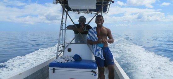 Nukubati Private Island: Levi & Johnny taking us snorkeling