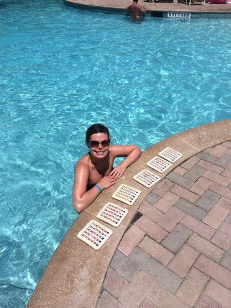 Marriott's Aruba Ocean Club: Bingo at the pool - everyday at 1pm. Just $5 for three cards for 4 games. Last game is for a cas