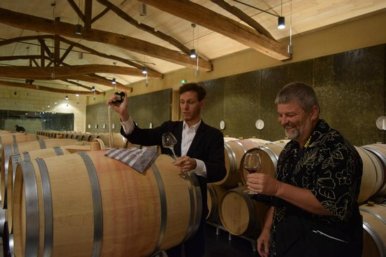 Ophorus Bordeaux Wine Day Tours : Barrel tasting at Chateau Soutard