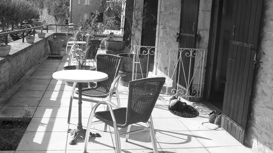 Hotel du Chateau: La terrasse partagée sur 3 chambres et ses plantes mortes