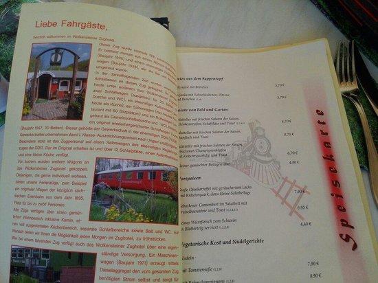 Wolkenstein, Germany: Speisekarte