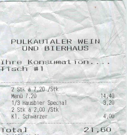 Pulkautaler Wein & Bierhaus: Scontrino