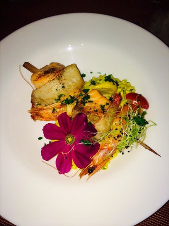 leu duo : Risotto et brochette de poissons