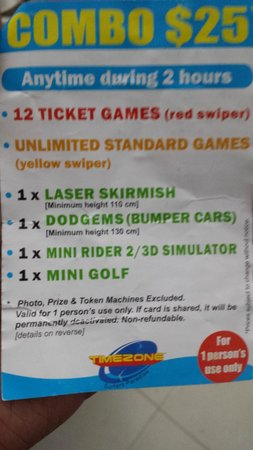 Timezone Surfers Paradise: What's included in the two hour combo?