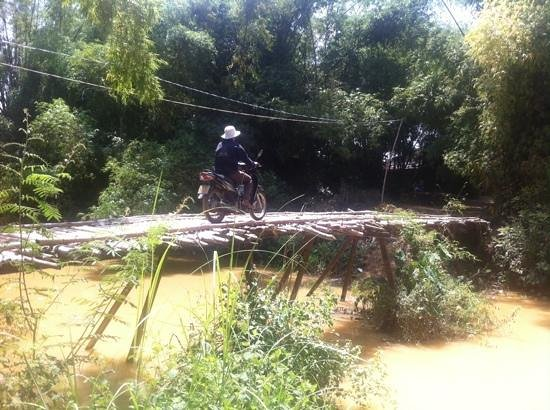 Hoi An Motorbike Adventures: Local riding accross bridge - we did too