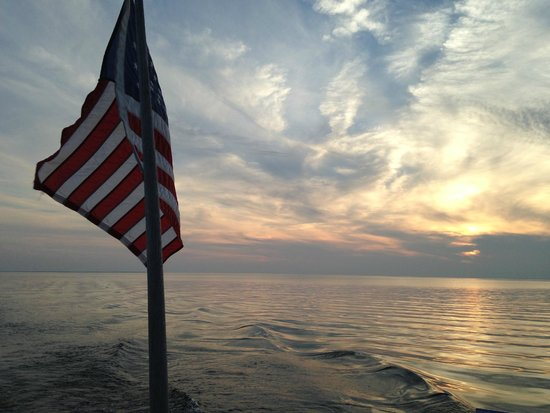The Shoreline Charters: sunset picture from the boat.