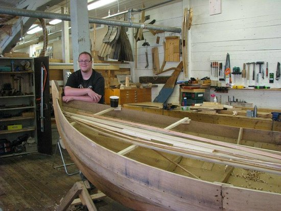 Marine Museum Karlskrona: A proud student at the boat building school.