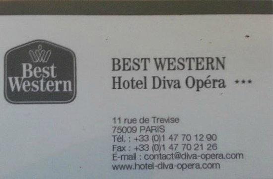BEST WESTERN Diva Opera : Biglietto da visita