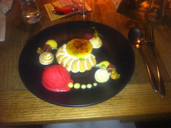 Hearth of the Ram: Lemon meringue with raspberry sorbet.