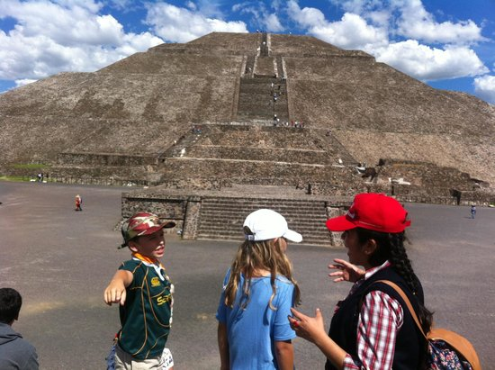 Mexico City Urban Adventures: Itzel answering a million questions at Teotihuacan!