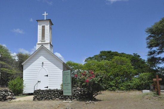 A Touch of Molokai: One of Fr Damien's churches with a statue of him