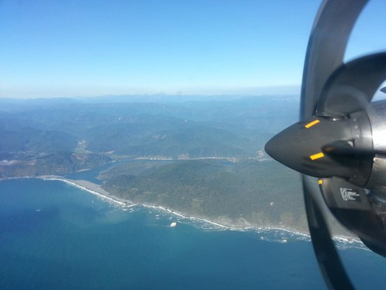 Historic Requa Inn: Mouth of Klamath River from the air, site of Requa Inn