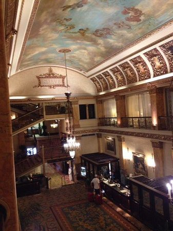 The Pfister Hotel: From the mezzanine overlooking the ornate lobby