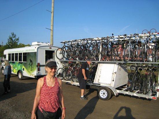 Le Petit Train du Nord Bike Path: Bikes loaded on the shuttle