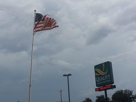 Quality Inn & Suites: asked them to change or take down the flag it was offensive being so torn. shouldn't have been l