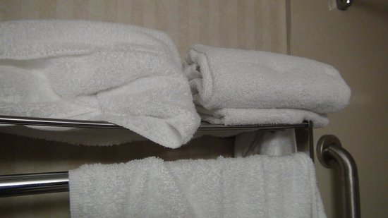 Comfort Inn-Pocono Mountain: Right folded dirty towel with a hair.