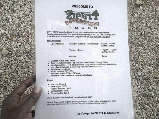 Chaguaramas, Trinidad: Zipline info