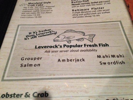 Leverock's Great Seafood: A great menu.