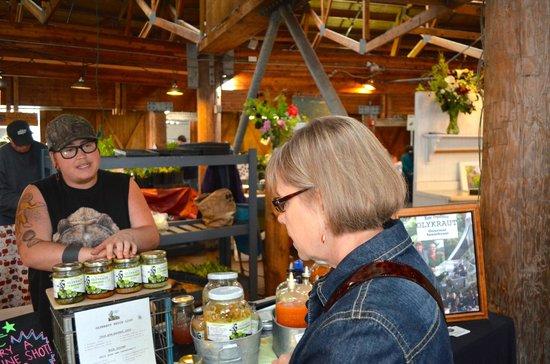 Farmers Market: Anita checks out her favorite locally made sauerkraut at the Farmer's Market