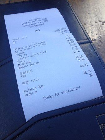 Taco Asylum: Bill $46 not including tip